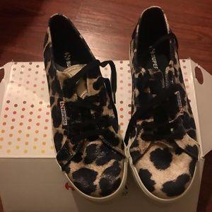 Superga Shoes - Superga Velvet Leopard Platform Sneakers NIB